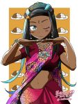 1girl artist_name bindi black_hair blue_eyes blue_eyeshadow blue_hair blush bracelet commentary_request cowboy_shot curry curry_rice dark_skin dated earrings eyeliner eyeshadow food gym_leader indian_clothes jewelry makeup midriff multicolored_hair navel necklace one_eye_closed pokemon pokemon_(game) pokemon_swsh rice rurina_(pokemon) sari signature solo tokihime_kaseki twitter_username two-tone_hair