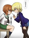 2girls arms_behind_back bangs black_legwear black_neckwear blonde_hair blouse blue_eyes blue_skirt blue_sweater blush bound bound_arms bound_legs braid breath brown_eyes brown_hair commentary darjeeling_(girls_und_panzer) dress_shirt eyebrows_visible_through_hair female_pervert from_side girls_und_panzer green_skirt hand_on_own_thigh holding holding_syringe kumo_(atm) leaning_forward long_sleeves looking_at_another miniskirt multiple_girls neckerchief necktie nishizumi_miho on_chair ooarai_school_uniform open_mouth pantyhose pervert pleated_skirt school_uniform serafuku shirt short_hair sitting skirt smile socks st._gloriana's_school_uniform standing sweat sweater syringe tied_hair translated v-neck white_blouse white_shirt wing_collar wooden_chair