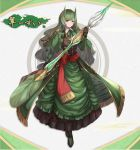 bangs black_gloves breasts brown_eyes commentary_request dolce_(dolsuke) dress eyebrows_visible_through_hair gloves green_capelet green_dress green_ribbon highres holding holding_spear holding_weapon large_breasts looking_at_viewer oni oni_horns original polearm ribbon smile solo spear tagme translation_request weapon