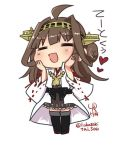 1girl =_= ahoge black_legwear black_skirt boots brown_hair chibi double_bun eyebrows_visible_through_hair full_body headgear heart kantai_collection kongou_(kantai_collection) long_hair lr_hijikata nontraditional_miko open_mouth remodel_(kantai_collection) signature simple_background skirt solo thigh-highs thigh_boots twitter_username white_background