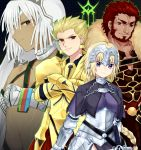 2boys 2girls altera_(fate) armor beard blonde_hair cape collar crossed_arms dark_skin facial_hair fate/apocrypha fate/grand_order fate/zero fate_(series) gilgamesh headpiece jeanne_d'arc_(fate) jeanne_d'arc_(fate)_(all) long_hair monyoe multiple_boys multiple_girls plackart red_eyes redhead rider_(fate/zero) violet_eyes white_hair