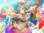 bang_dream! blush dress green_eyes green_hair guitar hikawa_hina short_hair smile