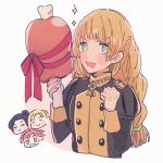 1girl 3boys black_hair blonde_hair boned_meat buttons clenched_hand closed_eyes closed_mouth dimitri_alexandre_blaiddyd drooling felix_hugo_fraldarius fire_emblem fire_emblem:_three_houses food garreg_mach_monastery_uniform gift green_eyes highres holding holding_food ingrid_brandl_galatea long_hair long_sleeves low-tied_long_hair meat multiple_boys open_mouth redhead ribbon short_hair simple_background smile solo_focus sparkle sylvain_jose_gautier uniform upper_body white_background yumeutux