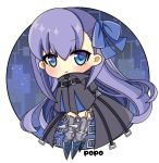 1girl :t artist_name bangs black_jacket blue_bow blue_eyes blush bow chibi closed_mouth commentary_request eyebrows_visible_through_hair fate/grand_order fate_(series) full_body hair_between_eyes hair_bow jacket long_hair long_sleeves looking_at_viewer meltryllis popo_(popopuri) pout purple_hair signature sleeves_past_fingers sleeves_past_wrists solo spikes very_long_hair