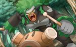 ahoge brown_eyes drum drumsticks fangs forest gen_8_pokemon hakuginnosora instrument looking_at_viewer nature no_humans open_mouth outdoors pokemon pokemon_(creature) pokemon_(game) pokemon_swsh rillaboom shouting solo standing tree
