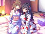 2girls :d animal_print asa_no_ha bad_feet barefoot black_hair blush braid breasts brown_eyes brown_hair fish_print flower futon green_eyes hair_flower hair_ornament highres indoors japanese_clothes kimono lantern large_breasts looking_at_viewer multiple_girls official_art open_mouth original pillow seiza sitting smile towel x_hair_ornament