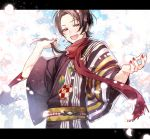 1boy brown_hair cherry_blossoms earrings highres hoshi_akari japanese_clothes jewelry kashuu_kiyomitsu kimono letterboxed male_focus mole mole_under_mouth open_mouth petals ponytail red_eyes red_nails red_scarf scarf smile touken_ranbu yukata