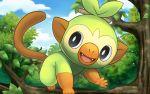 :d black_eyes day gen_8_pokemon grookey hakuginnosora in_tree monkey no_humans open_mouth outdoors pokemon pokemon_(creature) pokemon_(game) pokemon_swsh smile solo tree