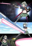 1girl aile_strike_gundam bangs beam beam_saber belt black_belt black_legwear blunt_bangs blush closed_mouth eyebrows_visible_through_hair green_skirt gundam gundam_seed hair_ribbon highres holding holding_weapon kantai_collection launcher_strike_gundam midriff multiple_views navel obari_pose open_mouth orange_neckwear pantyhose parody ponytail remodel_(kantai_collection) ribbon rigging shield short_sleeves skirt smile solo space star_(sky) strike_gundam sunrise_stance sword_strike_gundam weapon yano_toshinori yuubari_(kantai_collection)