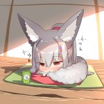 1girl animal_ear_fluff animal_ears bangs blush chibi closed_mouth commentary_request cup cushion eyebrows_visible_through_hair fox_ears fox_girl fox_tail full_body grey_hair hair_between_eyes hair_ornament half-closed_eyes long_hair long_sleeves original ponytail red_eyes sleepy solo sunlight tail veranda wide_sleeves yunomi yuuji_(yukimimi) zabuton