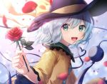 1girl :d aqua_eyes bangs black_headwear blue_hair blush eyebrows_visible_through_hair flower frilled_sleeves frills from_side hat hat_ribbon heart heart_of_string highres holding holding_flower komeiji_koishi leaf light_rays looking_at_viewer looking_to_the_side mozuno_(mozya_7) open_mouth petals red_flower red_rose ribbon rose rose_petals shirt short_hair smile solo sunbeam sunlight third_eye touhou upper_body wide_sleeves yellow_ribbon yellow_shirt