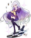 1girl :< ark_order artist_request black_footwear card chess_piece chessboard club_(shape) diamond_(shape) floating full_body gradient_hair heart loafers long_hair looking_at_viewer multicolored_hair neckerchief no_game_no_life official_art pawn_(chess) purple_legwear purple_serafuku purple_shirt purple_skirt sailor_collar school_uniform serafuku shiro_(no_game_no_life) shirt shoes skirt sleeves_past_wrists solo spade_(shape) sparkle tachi-e thigh-highs transparent_background very_long_hair white_sailor_collar yellow_eyes yellow_neckwear zettai_ryouiki
