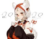 1girl :3 absurdres animal_ears bangs bare_shoulders brown_eyes detached_sleeves earrings facial_mark headwear highres jewelry kawaguchi_(mojacome) long_hair looking_at_viewer mouse mouse_ears mouse_tail original parted_bangs ponytail simple_background sleeves_past_wrists smile solo tail white_background white_hair