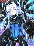 1girl bangs blue_bodysuit blue_eyes body_armor bodysuit breasts commentary_request eyebrows_visible_through_hair gauntlets hair_between_eyes headgear joney long_hair looking_at_viewer magic_circle mechanical_wings neptune_(series) next_black shin_jigen_game_neptune_vii silver_hair small_breasts smile solo symbol-shaped_pupils wings