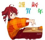 2019 ahoge anco8pizz commentary drill drill_hair fingers_together food from_side fruit happy_new_year japanese_clothes kasane_teto kimono kotatsu looking_at_viewer looking_to_the_side mandarin_orange new_year orange_kimono orange_peel plaid_kimono red_eyes redhead short_hair smile stretch table translated twin_drills upper_body utau white_background
