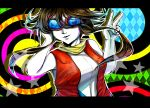 1girl abstract_background azumikano blue_nails brown_hair commentary_request facing_viewer fingernails hair_between_eyes hand_in_hair highres letterboxed long_hair medium_hair minami_(pokemon) multicolored multicolored_background pokemon pokemon_(game) pokemon_ranger pokemon_ranger_3 sleeveless solo star sunglasses v white_skin
