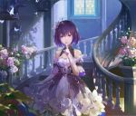 1girl a-m-one asymmetrical_gloves bare_shoulders black_dress black_hair blue_eyes blue_hair blurry cage commentary_request depth_of_field detached_sleeves dress elbow_gloves finger_to_mouth flower gloves hair_between_eyes hair_flower hair_ornament highres honkai_(series) honkai_impact_3rd index_finger_raised indoors keyhole looking_at_viewer multicolored_hair seele_vollerei seele_vollerei_(stygian_nymph) shushing single_elbow_glove skirt_hold sleeveless sleeveless_dress solo stairs two-tone_dress two-tone_hair violet_eyes white_butterfly white_dress white_flower white_gloves window