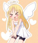 >_< 1girl :d bangs bare_arms bare_shoulders bike_shorts black_shorts blonde_hair blush broken_halo closed_eyes collarbone crimvael dress eyebrows_visible_through_hair facing_viewer halo hana_kazari heart highres ishuzoku_reviewers long_hair open_mouth outline pleated_dress short_shorts shorts shorts_under_dress smile solo strapless strapless_dress very_long_hair white_dress white_outline white_wings wings xd