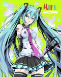 1girl aqua_eyes aqua_hair arms_behind_back belt belt_buckle black_legwear black_skirt breasts buckle detached_sleeves green_background hair_between_eyes hatsune_miku headset highres impossible_clothes impossible_shirt long_hair loose_belt medium_breasts microphone microphone_stand necktie pink_neckwear pleated_skirt polka_dot shirt shoulder_tattoo skirt solo tattoo thigh-highs to-ru twintails very_long_hair vocaloid wireless zettai_ryouiki