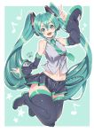 1girl arm_up bare_shoulders black_footwear black_legwear black_skirt blush boots collarbone commentary dated green_background green_eyes green_hair green_neckwear hair_between_eyes hatsune_miku highres kuma_(jk0073) long_hair musical_note navel necktie open_mouth shiny shiny_skin short_eyebrows signature skirt smile solo star teeth tongue twintails two-tone_background upper_teeth very_long_hair vocaloid white_background
