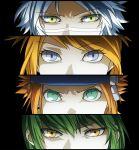 1girl 3boys ak_(pixiv3411084) annotated asymmetrical_bangs bangs black_background blonde_hair commentary_request eyelashes eyes green_eyes green_hair leo_(pokemon) looking_at_viewer masa_(pokemon_colosseum) mirei_(pokemon_colosseum) multiple_boys orange_hair persona persona_eyes pokemon pokemon_(game) pokemon_colosseum pokemon_xd ryuuto_(pokemon) serious simple_background violet_eyes white_hair yellow_eyes