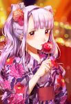 1girl absurdres asaba0327 blush candy_apple eating festival floral_print flower food hair_flower hair_ornament hairband highres idolmaster idolmaster_(classic) japanese_clothes kimono light_particles long_hair obi ponytail sash shijou_takane solo violet_eyes yukata