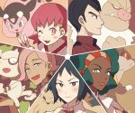 2girls 3boys akane_(pokemon) aloe_(pokemon) cheren_(pokemon) creature dog face fangs gen_2_pokemon gen_3_pokemon gen_5_pokemon green_eyes green_hair gym_leader hair_ornament horns ilima_(pokemon) lillipup looking_at_viewer miltank multiple_boys multiple_girls one_eye_closed pokemon pokemon_(creature) pokemon_(game) pokemon_bw pokemon_bw2 pokemon_hgss pokemon_oras pokemon_sm profile senri_(pokemon) signature slaking smeargle ssalbulre tied_hair tongue tongue_out trial_captain twintails watchog