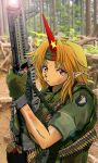 101st_airborne 1girl alternate_costume ammunition_belt blonde_hair blood blood_stain chain character_name commentary_request cuffs eyebrows_visible_through_hair fingerless_gloves fingernails forest gloves gun headband holding holding_gun holding_weapon horn hoshiguma_yuugi lens_flare m60 machine_gun military nail_polish nakamura_3sou nature outdoors patch photo_background pointy_ears red_eyes red_nails serious shackles sharp_fingernails short_sleeves sleeves_rolled_up solo star tan touhou tree upper_body vietnam_war weapon