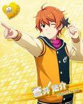 character_name idolmaster idolmaster_side-m jacket orange_eyes orange_hair short_hair wink yusuke_aoi