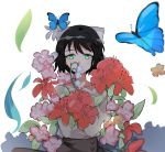 1girl black_hair bow bug butterfly flower green_eyes hair_bow hidden_mouth highres insect kohinata_miku petals senki_zesshou_symphogear skirt sweater