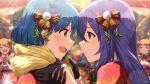 blue_hair blush dress green_eyes idolmaster_million_live!_theater_days long_hair mochizuki_anna nanao_yuriko short_hair smile