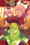 2girls animal_ear_fluff animal_ears bangs bird blue_bow blush bow breasts cat_paws cis05 closed_eyes closed_mouth fangs fate/extra fate/grand_order fate_(series) fox_ears fox_girl fox_tail gloves green_hakama hair_between_eyes hair_bow hakama japanese_clothes kimono large_breasts long_hair long_sleeves looking_at_viewer maid_headdress multiple_girls open_mouth paw_gloves paw_shoes paws pink_hair ponytail red_bow red_kimono shoes sidelocks smile tail tamamo_(fate)_(all) tamamo_cat_(fate) tamamo_no_mae_(fate) twintails yellow_eyes