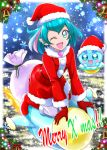 ;d blue_eyes blue_hair dress fur-trimmed_dress fur-trimmed_hat gift_bag gloves hagoromo_lala hanzou hat highlights highres kneeling long_sleeves looking_at_viewer multicolored_hair one_eye_closed open_mouth pointy_ears precure prunce_(precure) red_dress red_gloves red_headwear santa_costume santa_hat short_dress short_hair smile snowflakes star star-shaped_pupils star_twinkle_precure symbol-shaped_pupils
