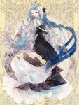 1girl black_dress blue_hair commission dairoku_youhei dress flower full_body hair_flower hair_ornament hand_up horns invisible_chair jewelry long_hair low-tied_long_hair no_nm_00 ring simple_background sitting solo very_long_hair wide_sleeves yellow_background