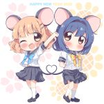 2020 2girls :d animal_ears blonde_hair blue_hair blue_skirt blush bow brown_eyes cat_ears chibi commentary_request english_text fake_animal_ears fang furutani_himawari hair_ornament hairclip happy_new_year heart heart_tail_duo highres looking_at_viewer multiple_girls new_year one_eye_closed oomuro_sakurako open_mouth skirt smile takahero yuru_yuri