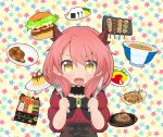 1girl absurdres arms_up black_choker black_neckwear blush bow bowl bowtie brooch chibi choker commentary_request curry curry_rice dragon_horns eyebrows_visible_through_hair fafnir_guildmelag_linda_blair_hanako fang food fork hair_between_eyes hamburger highres holding holding_fork holding_knife horns jewelry juliet_sleeves katsudon_(food) kemonomichi knife long_sleeves looking_at_viewer mogumin_(ryoma0509) obentou omurice onigiri open_mouth osechi pink_hair plate pudding puffy_sleeves red_shirt rice shirt short_hair solo standing star starry_background steak takoyaki underbust upper_body yakitori yellow_background yellow_eyes