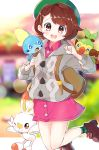 1girl animal animal_on_shoulder backpack bag bangs blurry blurry_background brown_eyes brown_hair cardigan collared_dress commentary day depth_of_field dress eyebrows_visible_through_hair gen_8_pokemon grey_sweater grookey highres jumping legs_up long_sleeves looking_at_viewer open_mouth outside_border pink_dress pokemon pokemon_(game) pokemon_swsh ringosutta scorbunny short_dress short_hair smile sobble solo sweater tam_o'_shanter twitter_username watermark web_address yuuri_(pokemon)