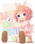:d ahoge animal_ears ayanepuna blue_eyes blush brown_background brown_footwear brown_hair bunny_headphones eighth_note fake_animal_ears fang gradient_hair headphones highres hinabita interlocked_fingers jacket looking_at_viewer meu_meu multicolored_hair musical_note open_mouth outstretched_arm pink_jacket pleated_skirt ponytail rabbit_ears red_sailor_collar red_skirt redhead sailor_collar shoe_soles shoes sidelocks sitting skirt smile spoken_musical_note striped striped_legwear thigh-highs two-tone_background white_background