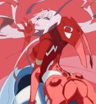 1girl ass blue_eyes bodysuit breasts candy cowboy_shot darling_in_the_franxx floating_hair food hairband horns lollipop long_hair looking_at_viewer looking_back medium_breasts pilot_suit pink_hair red_background simple_background skin_tight solo yuuki_(irodo_rhythm) zero_two_(darling_in_the_franxx)