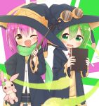 2girls ;d ayanepuna bangs black_headwear black_robe black_skirt blush book borrowed_character brown_eyes collared_shirt commentary_request dress_shirt eyebrows_visible_through_hair flying_sweatdrops frilled_skirt frills goggles goggles_on_headwear green_eyes green_hair green_scarf hair_between_eyes hat highres holding holding_book holding_wand hood hood_down hooded_robe multiple_girls one_eye_closed open_clothes open_mouth open_robe original pink_hair plaid plaid_skirt pleated_skirt red_neckwear robe scarf shirt skirt smile stuffed_animal stuffed_bunny stuffed_toy sweater_vest wand wavy_mouth white_shirt witch_hat