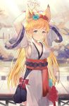 1girl animal_ears armpits arms_up bangs black_skirt blonde_hair blue_flower blush bound bound_wrists bow breasts closed_mouth collarbone commentary_request eyebrows_visible_through_hair flower green_eyes highres leilin long_hair looking_at_viewer medium_breasts obi original pleated_skirt red_bow red_flower red_string sash short_sleeves sideboob skirt solo string sweat very_long_hair wide_sleeves
