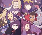 1boy 5girls :d ^_^ acerola_(pokemon) blue_eyes bob_cut brown_hair chandelure child closed_eyes creature dusclops elite_four evil_grin evil_smile face fire flame flower fuyou_(pokemon) gen_1_pokemon gen_3_pokemon gen_4_pokemon gen_5_pokemon gen_7_pokemon gengar ghost glasses grin gym_leader hair_flower hair_ornament haunter holding holding_notebook holding_pencil kikuko_(pokemon) long_hair looking_at_viewer looking_to_the_side matsuba_(pokemon) melissa_(pokemon) mimikyu mismagius multiple_girls notebook old_woman open_mouth pencil pokemon pokemon_(creature) pokemon_(game) pokemon_bw pokemon_dppt pokemon_frlg pokemon_hgss pokemon_rse pokemon_sm purple_eyes purple_hair purple_scarf scarf shikimi_(pokemon) short_hair signature smile ssalbulre star tied_hair tongue tongue_out trial_captain wrinkles