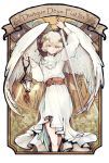 androgynous angel angel_wings bird blonde_hair dove dress feet_out_of_frame flower holding holding_lantern holding_sword holding_weapon itsukazu lantern latin_text long_sleeves looking_at_viewer original pink_flower platinum_blonde_hair short_hair solo sword weapon white_bird white_dress wings