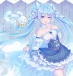 1girl absurdres amulet bare_shoulders blue_dress blue_eyes cape capelet collar collarbone commentary cowboy_shot detached_collar detached_sleeves dress earrings english_commentary finger_to_chin framed_breasts frilled_dress frilled_sleeves frills hair_ornament hand_up hatsune_miku highres index_finger_raised jewelry layered_dress light_blue_hair long_hair looking_at_viewer mushoku musical_note_hair_ornament neck_ruff open_mouth plaid_capelet princess rabbit rabbit_yukine skirt_hold smile snowflake_earrings snowflake_print strapless strapless_dress thigh-highs tiara twintails very_long_hair vocaloid white_cape white_collar white_fur white_legwear white_sleeves yuki_miku yuki_miku_(2019) zettai_ryouiki