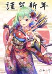 1girl arrow bangs blush bow_(weapon) brown_eyes commentary_request floral_print flower green_hair hair_flower hair_ornament highres japanese_clothes kanzashi kimono long_sleeves looking_at_viewer medium_hair new_year nobady obi one_eye_closed open_mouth original sash smile solo weapon wide_sleeves