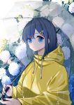 1girl bangs blue_eyes blue_hair drawstring expressionless flower hair_ornament highres holding holding_umbrella hood hood_down leaf looking_at_viewer medium_hair original rain raincoat simmm solo transparent transparent_umbrella umbrella upper_body yellow_raincoat