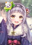 1girl :d absurdres bangs blue_kimono blurry blurry_background blush bow brown_eyes cherry_blossoms commentary_request day depth_of_field eyebrows_visible_through_hair floral_print flower fur_collar grey_hair hair_bun hair_flower hair_ornament hand_up highres hololive japanese_clothes kimono long_hair long_sleeves looking_at_viewer murasaki_shion namekuji_ojiichan open_mouth outdoors pink_flower print_kimono red_bow shrimp_hair_ornament side_bun smile solo upper_body upper_teeth virtual_youtuber white_flower wide_sleeves