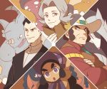 2boys 2girls black_hair bonnet brown_eyes cowboy_hat creature crossed_arms elite_four excadrill face furrowed_eyebrows gen_1_pokemon gen_4_pokemon gen_5_pokemon gen_7_pokemon grey_eyes grey_hair gym_leader hapu'u_(pokemon) hat hippowdon island_kahuna kikuno_(pokemon) long_hair looking_at_viewer medium_hair mudsdale multiple_boys multiple_girls old_woman pokemon pokemon_(creature) pokemon_(game) pokemon_dppt pokemon_frlg rhydon sakaki_(pokemon) sideburns signature ssalbulre standing yacon_(pokemon)