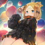 1girl abigail_williams_(fate/grand_order) balloon bandaid_on_forehead bangs black_bow black_jacket blonde_hair blue_eyes blush bow breasts crossed_bandaids fate/grand_order fate_(series) forehead from_below hair_bun heroic_spirit_traveling_outfit high_collar jacket lens_flare long_hair long_sleeves looking_at_viewer multiple_bows open_mouth orange_belt orange_bow parted_bangs polka_dot polka_dot_bow sleeves_past_fingers sleeves_past_wrists small_breasts solo teddy_(khanshin) thighs twilight