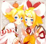 absurdres animal_ears bangs bare_shoulders black_collar blonde_hair blue_eyes bow calligraphy_brush collar commentary detached_sleeves double_w food food_on_head fruit fruit_on_head hair_bow hair_ornament hairclip hands_up head_to_head highres holding_brush japanese_clothes kagamine_len kagamine_rin light_blush looking_at_viewer mandarin_orange medium_hair mouse_ears neckerchief object_on_head open_mouth oyamada_gamata paintbrush paw_print red_bow sailor_collar school_uniform shirt short_ponytail spiky_hair swept_bangs upper_body vocaloid w white_shirt white_sleeves wide_sleeves yellow_neckwear